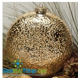 CLEARANCE! - Ornament - Glass Disc - Hammered Gold Finish 6""