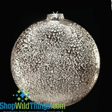 CLEARANCE-Ornament - Glass Disc - Hammered Silver Finish 6""