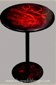 """CLEARANCE-Red Metal Table - 16.5"""" x 22""""Talll"""