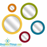 CLEARANCE-Round Bright Wooden Wall Mirrors, Set of 5