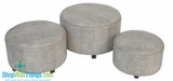 CLEARANCE-Round Ottomans, Gray with Silver Trim, Set of 3!