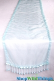 "CLEARANCE - Runner - Sheer Shiny Organza With Beads - Aqua - 108"" x 10"""