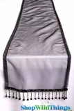 "CLEARANCE - Runner - Sheer Shiny Organza With Beads - Black - 108"" x 10"""