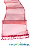 "CLEARANCE - Runner - Sheer Shiny Organza With Beads - Burgundy Red - 108"" x 10"""