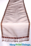"CLEARANCE - Runner - Sheer Shiny Organza With Beads - Chocolate Brown - 108"" x 10"""