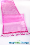 "CLEARANCE - Runner - Sheer Shiny Organza With Beads - Fuchsia Pink - 108"" x 10"""