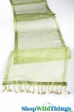 "CLEARANCE - Runner - Sheer Shiny Organza With Beads - Green - 108"" x 10"""