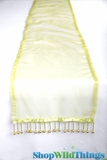 "CLEARANCE - Runner - Sheer Shiny Organza With Beads - Light Green - 108"" x 10"""