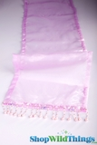 "CLEARANCE - Runner - Sheer Shiny Organza With Beads - Lilac - 108"" x 10"""