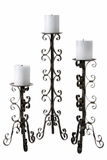"CLEARANCE-""Scrollwork Trio"" Iron Candle Holder Set"