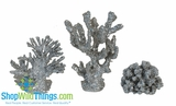 CLEARANCE � Silver Coral Decor - Set of 3