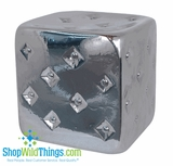 CLEARANCE - Silver Tufted Garden Stool (Slightly Defective)