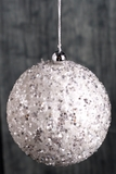 "CLEARANCE! Snow Sparkle Ball 6"" White and Silver Ornament (Beaded & Confetti!)"