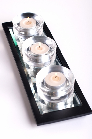 """CLEARANCE - """"Telestra"""" 3 Votive Mirrored Tray with Black Frame"""