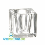 "CLEARANCE-""The Cube""  Votive or Tea Light Glass Candle Holder"