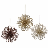 "CLEARANCE! - The Loop Ornament 6""- Brown, Gold, Silver -  Set of 3, Glitter & Confetti!"