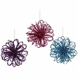 "CLEARANCE-The Loop Ornament 6""- Purple, Fuchsia, Blue -  Set of 3, Glitter & Confetti!"