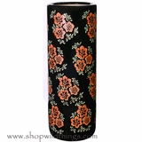 "CLEARANCE � Umbrella Stand or Vase- Ceramic - Black with Red Flowers 9"" x 25"""