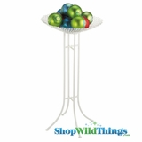 "CLEARANCE  White Display Bowl on Stand - 49"" Tall (Large)"