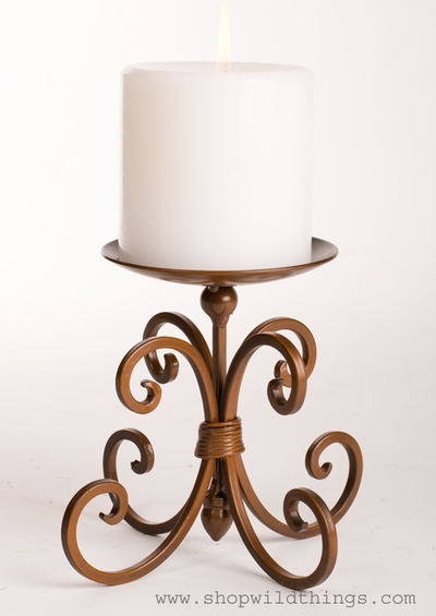 """CLEARANCE Copper/Brown Scroll Pillar Candle Holder 6.5"""" Tall"""