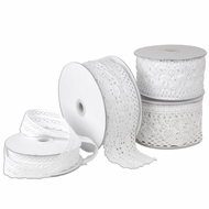 "Crochet Lace Ribbon - White - 2.33"" x 10 yards"