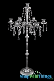 """Clearance - Crystal Beaded Antique Silver Candle Holder Extra Large""""Versailles""""- 6 Arms - 39"""" Tall"""
