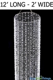 "Crystal Beaded Column 12' x 2'  - ""Bliss"" Diamante Duo & Ballchain Crystal"
