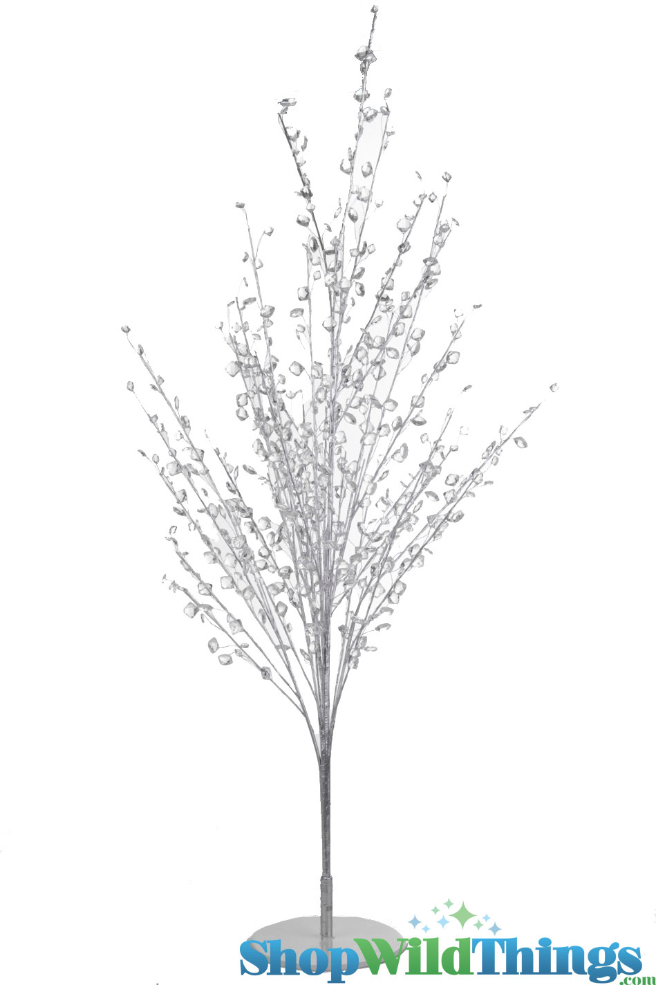 "Crystal Diamonds Tree 45"" Tall, Event Trees Silver and Crystal Beaded ..."