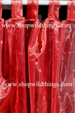 Curtain Burgundy Sheer Shiny Organza Tab Top