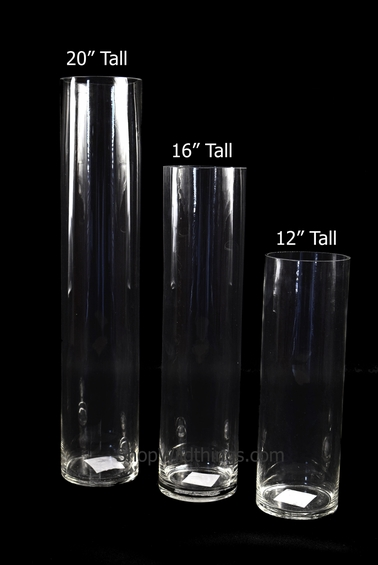 "Cylinder Glass Vases 12"" x 4"" - Set of 12"
