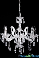 """Daisy"" Crystal Glamour Metal & Beads  Chandelier 23 x 20"" x 25"" - 5 Bulbs"