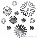 Daisy Flowers 11 pcs Plexi Mirrored Adhesive Wall Art
