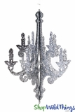 """Granville"" Hanging Candelabra Ornament, 12"" High - Chrome Glitter"