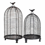 "Decorative Bird Cages - Set of 2 - Rustic Black (19"" & 14"")"