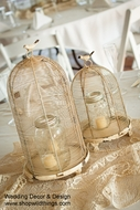 "Decorative Bird Cages - Set of 2 - Rustic Cream (19"" & 14"")"