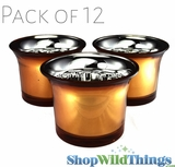 "Mercury Glass Tea Light  Holders - ""Lolly"" Orange - Set of 12"