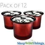 "Mercury Glass Tea Light  Holders - ""Lolly"" Red - Set of 12"