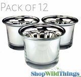 "Mercury Glass Tea Light  Holders - ""Lolly"" Silver - Set of 12"