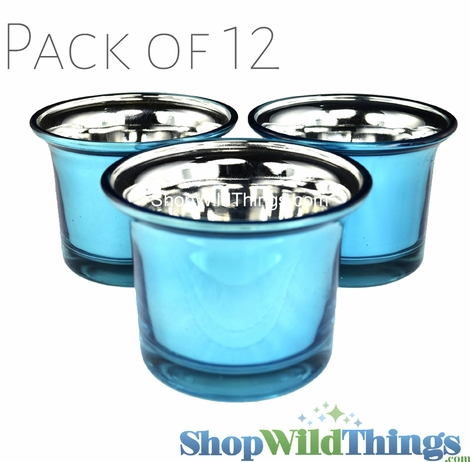 """Mercury Glass """"Frosted Metallics"""" Turquoise - Set of 12 Candle Holders"""