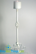 """Deveraux""  26""  Tall White Pillar Candle Holder"