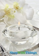 Diamond Glass Crystal Candle Holders - Set of 3 - Tealight, Votive or Pillar!