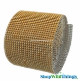 "Diamond Wrap Rolls - Gold - 4"" Wide x 30 ft Long (10 Yards) - Trimmable!"