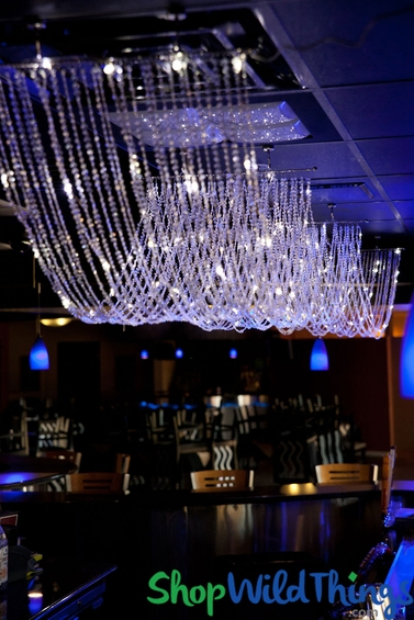 Sparkling Crystal Ceiling Drape With Led Lights