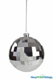 "Disco Ball Ornament 4.5"" Shiny Silver"