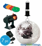 Disco Mirror Ball - Motor and Spot Light - 4 Colored Lenses