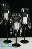 "DISCONTINUED ""Calista""  Candle Holder Set of 3 - Glass, Metal & Acrylic"