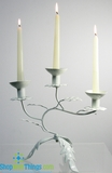 Divani  White Tabletop Leaves Candleholder
