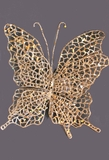 Double Butterfly with Clip - Metallic Gold & Holographic Glitter