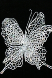 Double Butterfly with Clip - Metallic Silver & Holographic Glitter