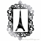 "Eiffel Tower and Frame (2 pcs) 17.25"" x 11.5""Plexi Mirrored Adhesive Wall Art"